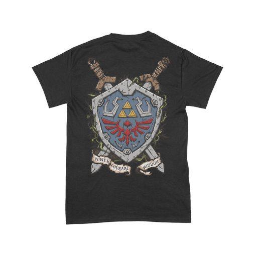 Camiseta Zelda Trifuerza Escudo Hyliano trasero